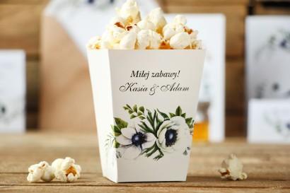 Pudełko na popcorn - Kalia nr 3 - anemony - dodatki, akcesoria ślubne
