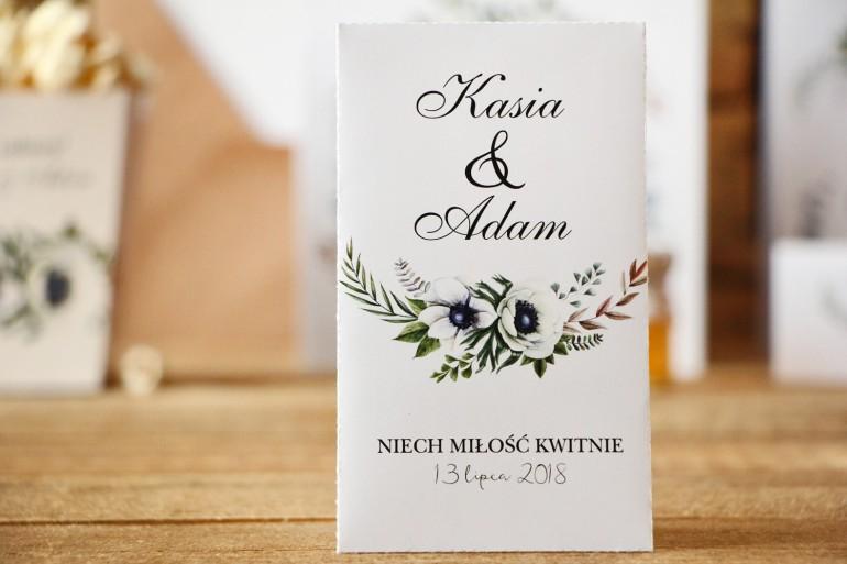 Podziękowania dla Gości weselnych - nasiona Niezapominajki - Kalia nr 3 - Białe anemony - dodatki ślubne