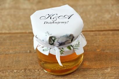 Słoiczki z miodem, podziękowanie dla Gości weselnych - Kalia nr 3 - Białe anemony - dodatki ślubne