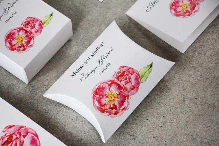 Pudełeczko poduszeczka na cukierki, podziękowania dla Gości weselnych - Pistacjowe nr 6 - Intensywne różowe piwonie