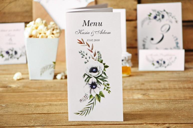 Menu weselne, dodatki ślubne - Kalia nr 3 - Białe anemony