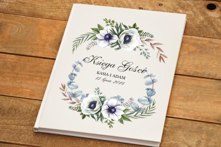 Księga Gości - Kalia nr 3 - Białe anemony - dodatki ślubne kwiatowe