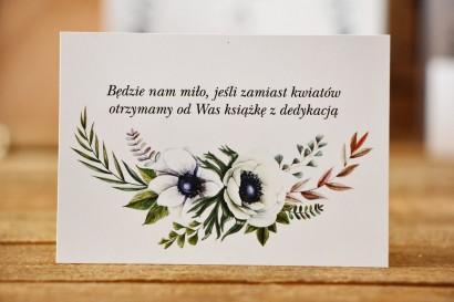 Bilecik do zaproszenia 105 x 74 mm prezenty ślubne wesele - Kalia nr 3 - Białe anemony