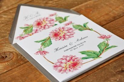 Zaproszenie ślubne, zaproszenia na ślub kwiatowe - Kalia nr 4 - Różowe dalie
