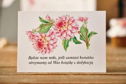 Bilecik do zaproszenia 105 x 74 mm prezenty ślubne wesele - Kalia nr 4 - Różowe dalie