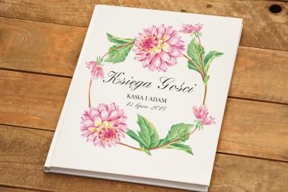 Księga Gości - Kalia nr 4 - Różowe dalie - dodatki ślubne kwiatowe