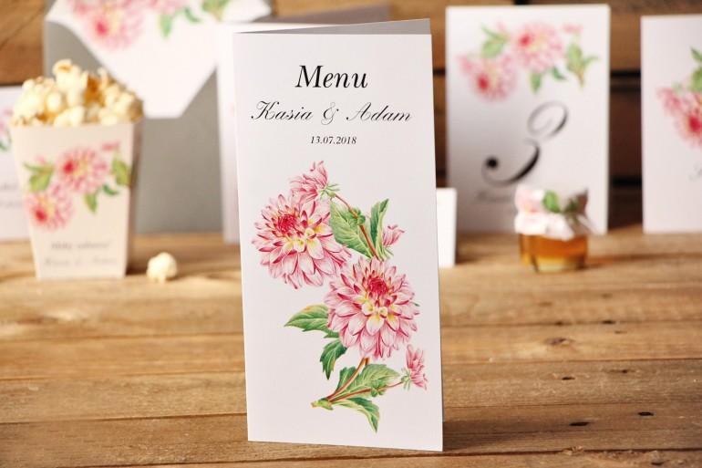 Menu weselne, stół weselny - Kalia nr 4 - Różowe dalie - dodatki ślubne