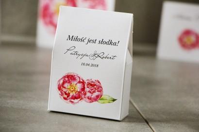 Pudełeczko stojące na cukierki, podziękowania dla Gości weselnych - Pistacjowe nr 6 - Intensywnie różowe piwonie