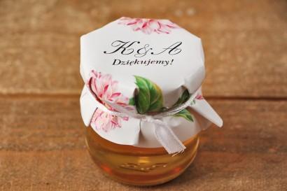 Słoiczki z miodem, podziękowanie dla Gości weselnych - Kalia nr 4 - Różowe dalie - dodatki ślubne