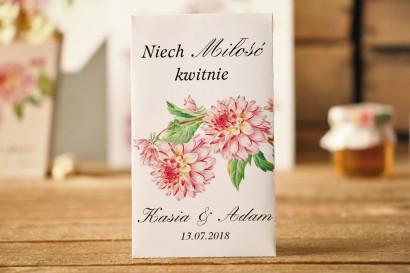 Podziękowania dla Gości weselnych - nasiona Niezapominajki - Kalia nr 5 - Różowe dalie - dodatki ślubne