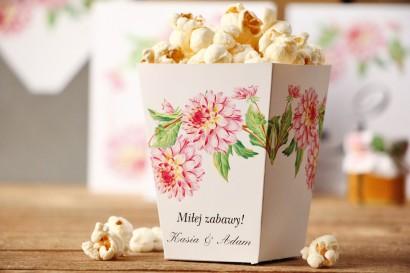 Pudełko na popcorn - Kalia nr 4 - Różowe dalie - dodatki, akcesoria ślubne