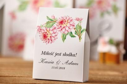 Pudełeczko stojące na cukierki, podziękowania dla Gości weselnych - Kalia nr 4 - Różowe dalie - Kwiatowe dodatki ślubne