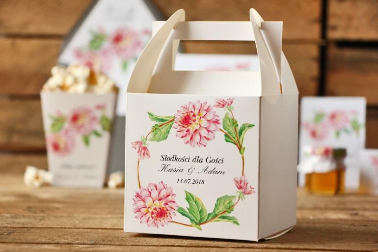 Pudełko na ciasto kwadratowe, tort weselny - Kalia nr 4 - Różowe dalie - dodatki ślubne