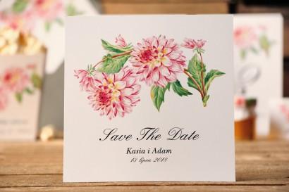 Bilecik Save The Date do zaproszenia ślubnego - Kalia nr 4 - Różowe dalie