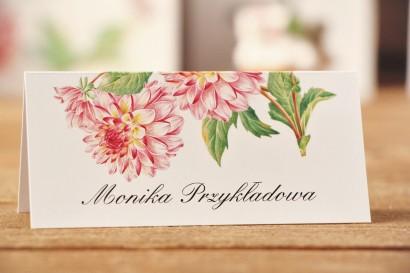 Winietki na stół weselny, ślub - Kalia nr 4 - Różowe dalie - dodatki ślubne