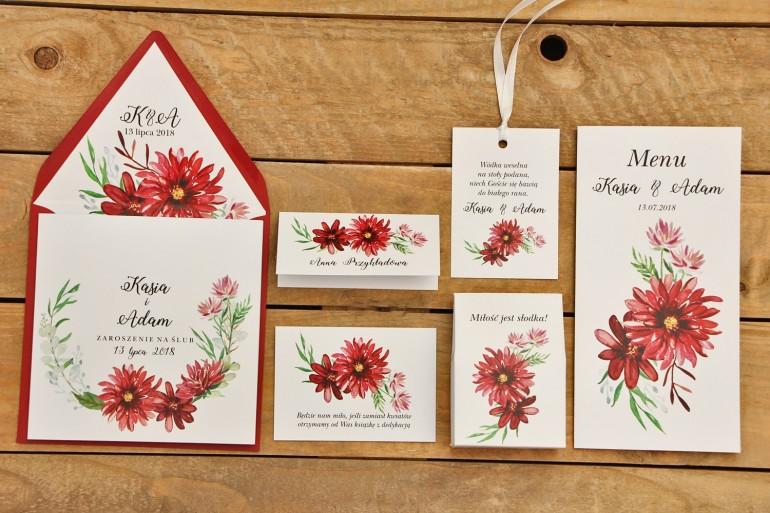 Zestaw próbny - Zaproszenia ślubne w kolorowej kopercie oraz dodatki i podziękowania dla gości weselnych
