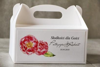 Prostokątne pudełko na ciasto, tort weselny, Ślub - Pistacjowe nr 6 - Piwonie w odcieniu amarantowym