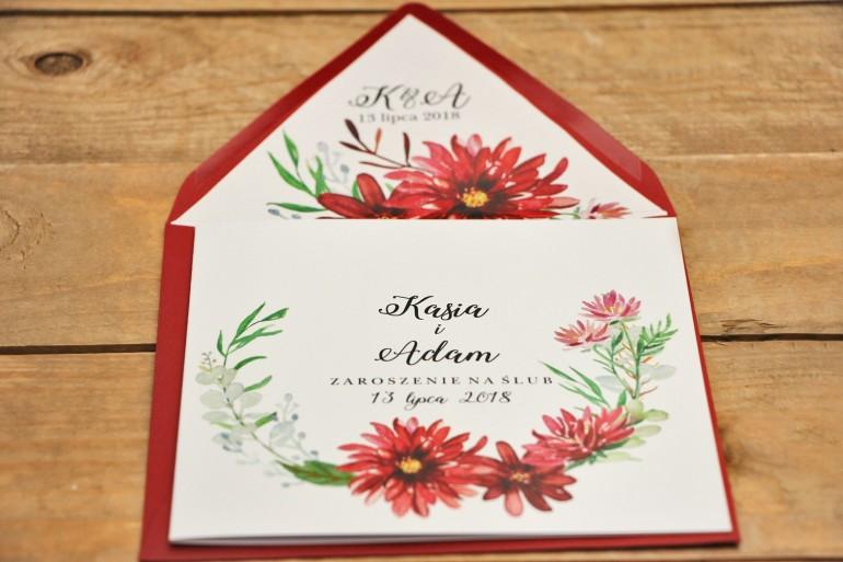 Zaproszenie ślubne, zaproszenia na ślub kwiatowe - Kalia nr 5 - Czerwone kalie z kopertą
