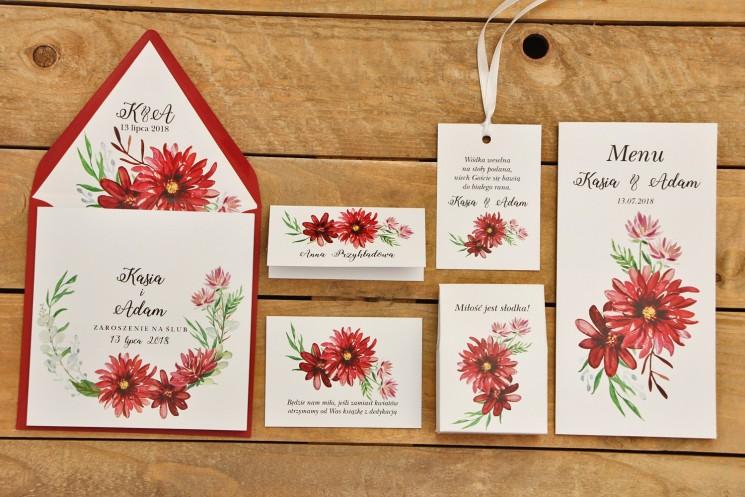 Zaproszenie ślubne z dodatkami - Kalia nr 5 - czerwone dalie