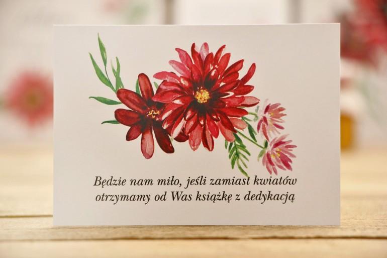 Bilecik do zaproszenia 105 x 74 mm prezenty ślubne wesele - Kalia nr 5 - Czerwone dalie