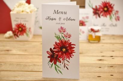 Menu weselne, stół weselny - Kalia nr 5 - czerwone dalie - dodatki ślubne