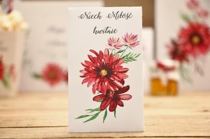 Podziękowania dla Gości weselnych - nasiona Niezapominajki - Kalia nr 5 - Czerwone dalie - dodatki ślubne