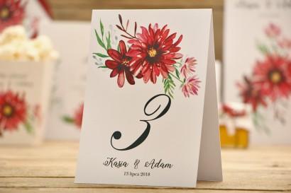 Numery stolików, stół weselny, ślub - kalia nr 5 - Czerwone dalie - dodatki ślubne