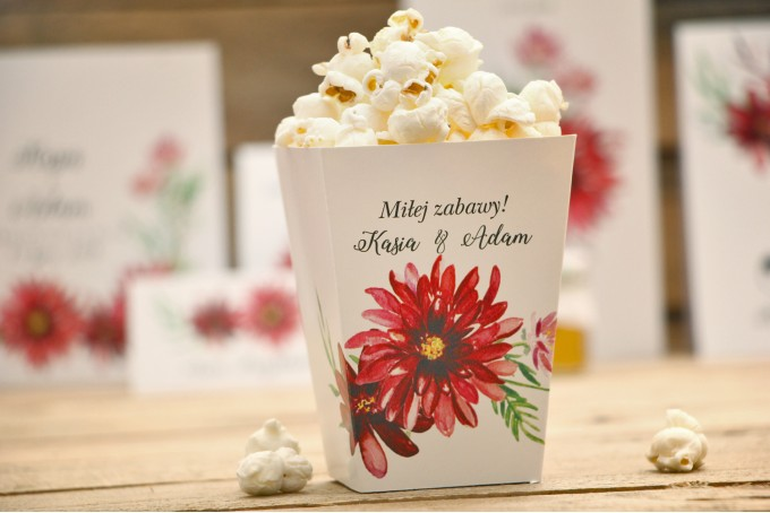 Pudełka na popcorn - Kalia nr 5 - Czerwone dalie - dodatki, akcesoria ślubne