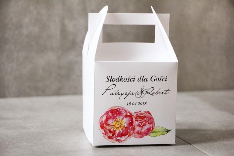 Pudełko na ciasto kwadratowe, tort weselny - Pistacjowe nr 6 - Intensywnie różowe piwonie