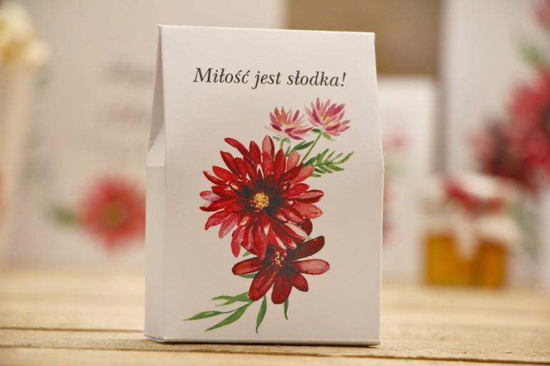 Pudełeczko stojące na cukierki, podziękowania dla Gości weselnych - Kalia nr 5 - Czerwone dalie - Kwiatowe dodatki ślubne