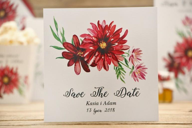 Bilecik Save The Date do zaproszenia ślubnego - Kalia nr 5 - Czerwone dalie