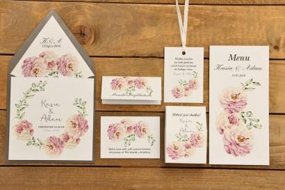 Zestw próbny - Zaproszenia ślubne w kolorowej kopercie oraz dodatki i podziękowania dla gości weselnych