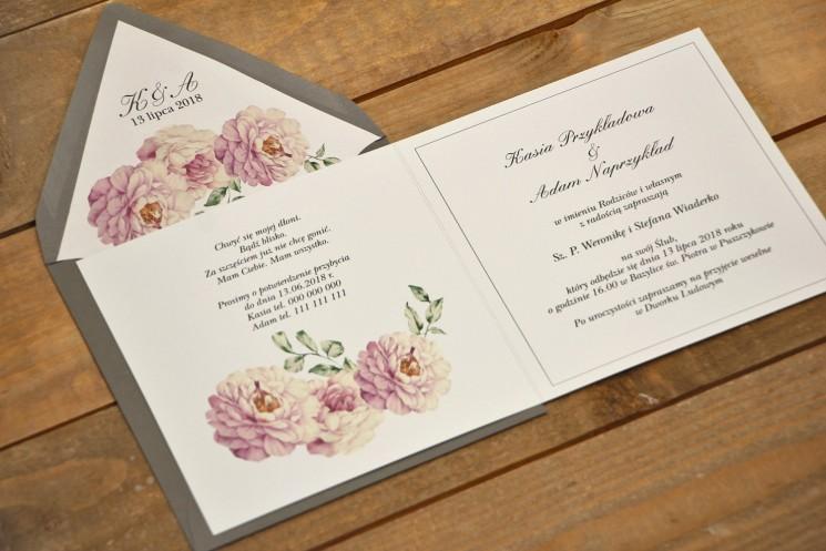 Zaproszenie ślubne eleganckie  kwiatowe - Kalia nr 6 - Pudrowe róże - wnętrze