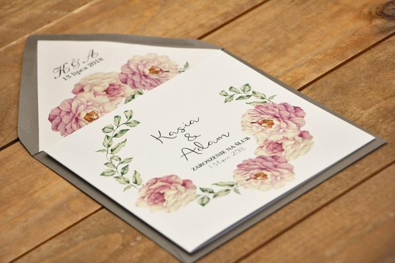 Zaproszenie ślubne eleganckie  kwiatowe - Kalia nr 6 - Pudrowe róże