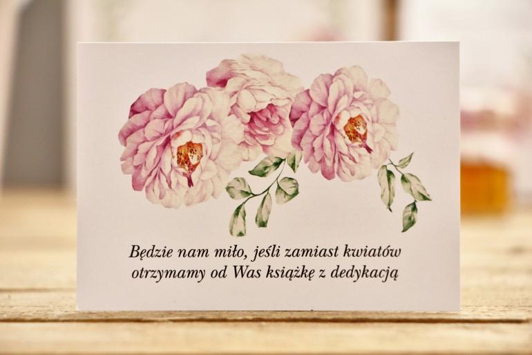 Bilecik do zaproszenia 105 x 74 mm prezenty ślubne wesele - Kalia nr 6 - Pudrowe róże