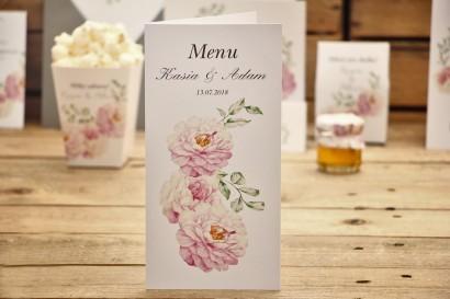 Menu weselne, stół weselny - Kalia nr 6 - Pudrowe róże - dodatki ślubne