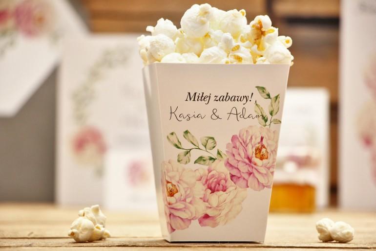 Pudełko na popcorn - Kalia nr 6 - Pudrowe róże - dodatki, akcesoria ślubne
