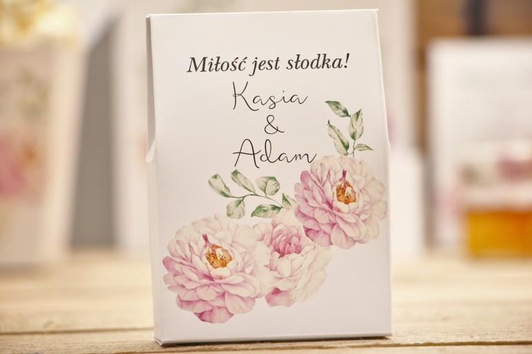 Pudełeczko stojące na cukierki, podziękowania dla Gości weselnych - Kalia nr 6 - Pudrowe róże - Kwiatowe dodatki ślubne