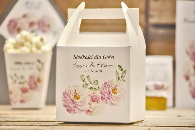 Pudełko na ciasto kwadratowe, tort weselny - Kalia nr 6 - Pudrowe róże - dodatki ślubne