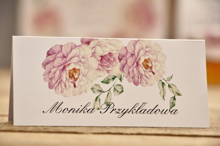 Winietki na stół weselny, ślub - Kalia nr 6 - Pudrowe róże - kwiatowe dodatki ślubne
