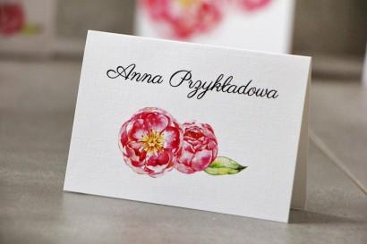 Winietki na stół weselny, ślub - Pistacjowe nr 6 - Intensywnie różowe piwonie