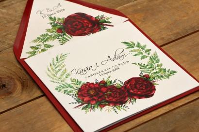 Zaproszenie ślubne eleganckie kwiatowe - Kalia nr 7 - Bordowe piwonie - z kopertą