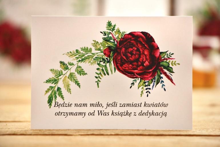 Bilecik do zaproszeń 105 x 74 mm - Kalia nr 7 - Bordowe kwiaty - wesele, wierszyki o prezentach