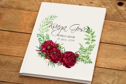 Księga Gości pamiątkowa - Kalia nr 7 - Bordowe kwiaty - dodatki ślubne