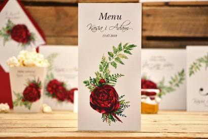 Menu weselne, akcesoria i dodatki ślubne - Kalia nr 7 - Bordowe kwiaty