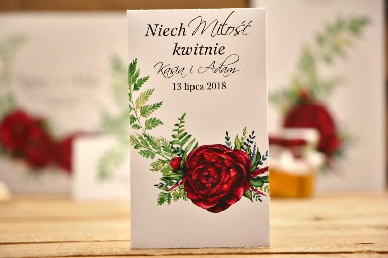 Podziękowania dla Gości weselnych - Nasiona niezapominajki - Kalia  nr 7 - Bordowe kwiaty - dodatki ślubne
