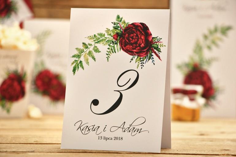 Numery stołów - dodatki ślubne, na stół weselny - Kalia nr 7 - Bordowe piwonie