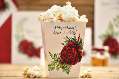 Pudełka na popcorn, akcesoria ślubne - Kali nr 7 - Bordowe piwonie