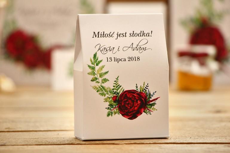 Pudełeczka na cukierki stojące - Kalia nr 7 - Bordowe kwiaty - dodatki ślubne, podziękowania
