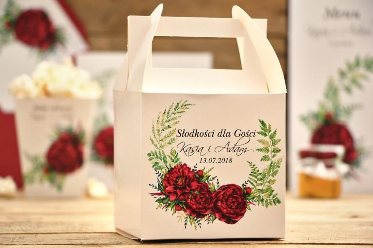 Pudełka na ciasto kwadratowe - Kalia nr 7 - Bordowe piwonie - dodatki ślubne, weselne akcesoria